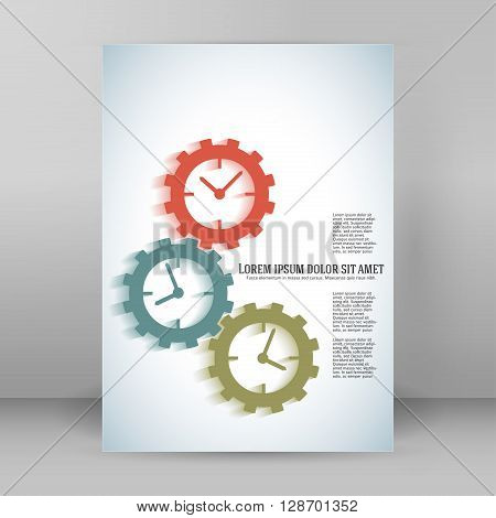 Concept Of Timeline Gears A4 Brochure Layout