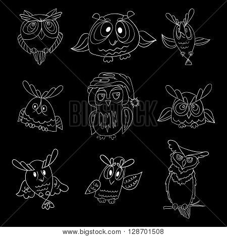 Set of nine funny owls, white vector contour isolated on black background