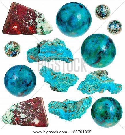 Set Of Various Chrysocolla Natural Gemstones
