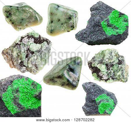 Set Of Various Green Garnets Natural Crystals