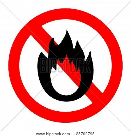 No Fire sign. Prohibition open flame symbol.