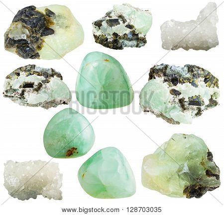 Set Of Various Prehnite Mineral Gemstones