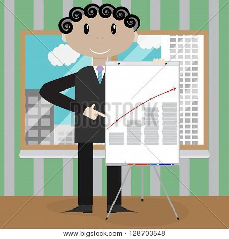 Finance presentation growth profit money. Market analyzing earning and banner forecast plan presentation. Vector flat design illustration