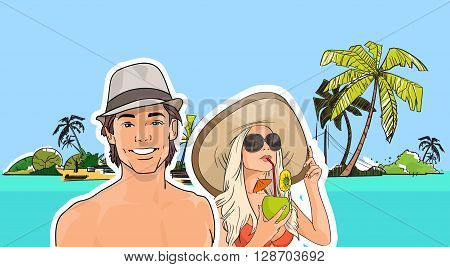 Couple On Beach Man Woman In Hat, Girl Sunglasses Drink Cocktail Sea Shore Tropical Summer Vacation Vector Illustration