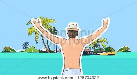 Happy Man In Hat Swimwear On Beach Sea Shore Hands Up Rear View Tropical Summer Vacation Vector Illustration