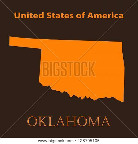 Orange Oklahoma map - vector illustration. Simple flat map of Oklahoma on a brown background.