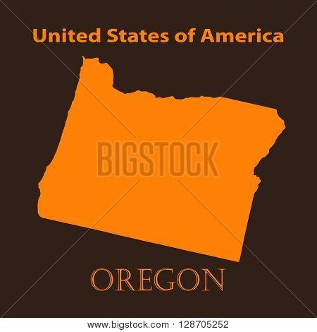 Orange Oregon map - vector illustration. Simple flat map of Oregon on a brown background.