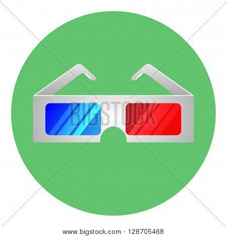 Glasses for 3D movie icon. Effect 3d cinema film and vision dimensional entertainment. Vector flat design illustration