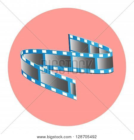 Tape film icon. Reel film movie and video filmstrip for cinematography industry. Vector flat design illustration