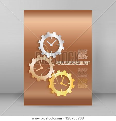 Gears Concept Of Time Line A4 Brochure Layout