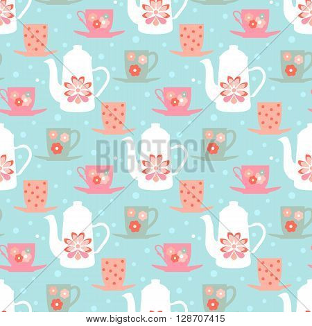 Retro seamless vector pattern with teapots, tea mugs and coffee cups