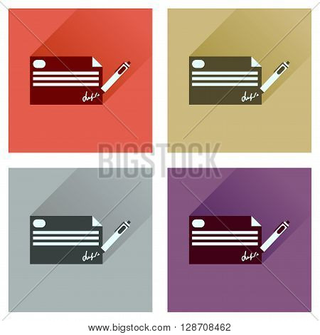 Concept flat icons with long  shadow bank check