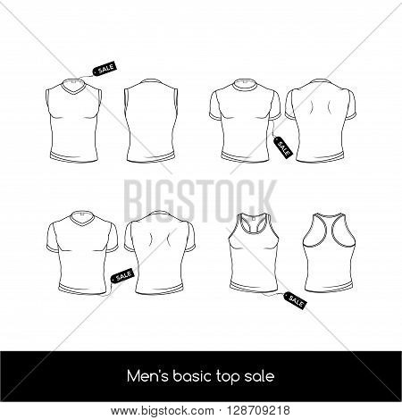 Men's top underwear with sale tags. Basic types of the top men's underwear. Men's sleeveless T-shirt and tank top. Vector illustration in a outline style isolated on white