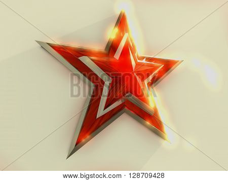 Red star tied on white background. 3D rendering.