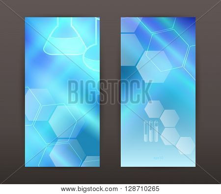 Abstract background science education concept. Graphic Design Elements chemistry hexagon icon tubes flasks graduation cap Vector Illustration EPS 10 for web banner template brochure front and back