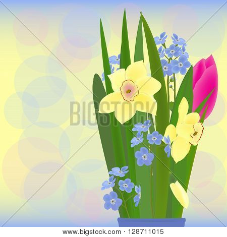 a bouquet of spring flowers:  daffodils, tulip and forget me nots vector