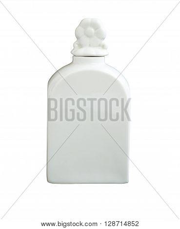 Light porcelain decanter isolated on white background