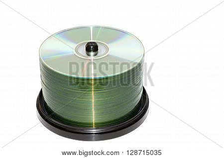 Block of compact disks isolated on a white background