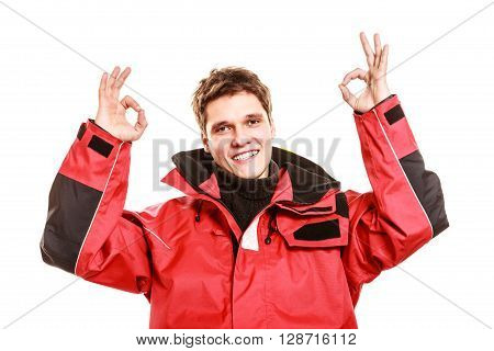 Male Outdoorsman Making Gestures