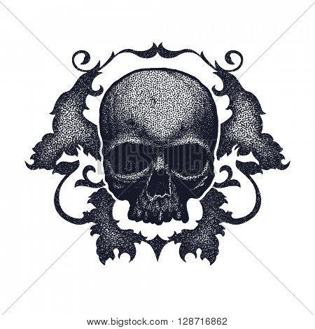 Black and white human skull. Hand drawn. Vector illustration