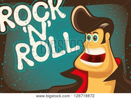 Rock and roll poster with comic guy. Vector illustration.