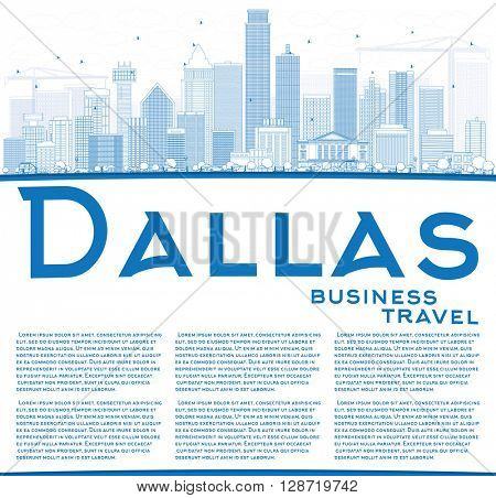 Outline Dallas Skyline with Blue Buildings and Copy Space. Vector Illustration. Business Travel and Tourism Concept with Modern Buildings. Image for Presentation Banner Placard and Web Site.