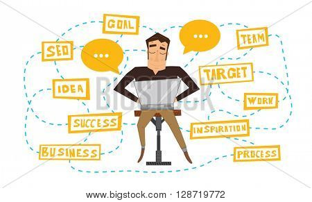 Businessman working with laptop. Vector illustration. Business process scheme. Man isolated on white background. Freelancer at work.