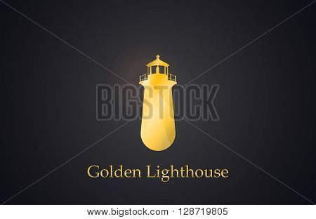 Lighthouse. Golden Lighthouse logo. Creative logo design. Elegant logo