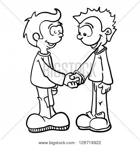 black and white two boys shaking hands cartoon illustration