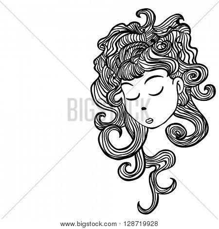 sleepy girl cartoon illustration on white background
