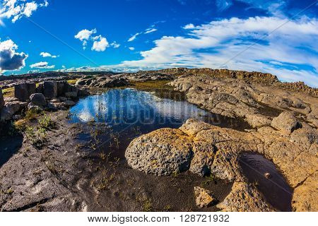 Iceland, Jokulsargljufur National Park. Picturesque small puddle in which is reflected the blue sky. Photo taken fisheye lens