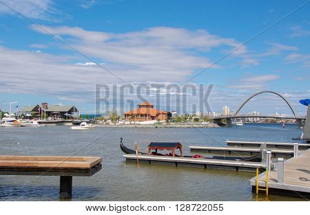 PERTH,WA,AUSTRALIA-APRIL 10,2016: Gondola docked at Elizabeth Quay's artificial inlet and tourist attraction in Perth, Westenr Australia.