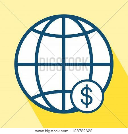 Globe Dollar icon. EPS 10 vector illustration for design. Economy icon on yellow background. Economy icon with Long Shadow. All in a single layer. Vector illustration. Elements for design.