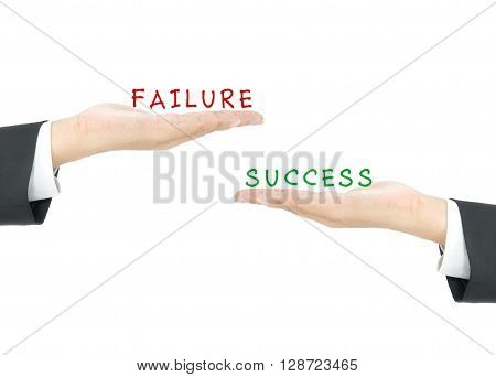 Success vs Failure on hand of business man