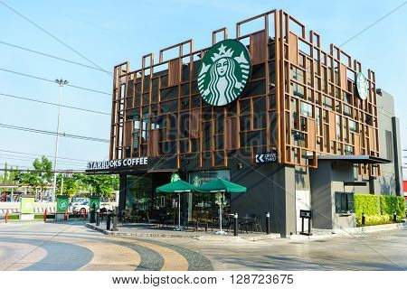 BANGKOK THAILAND - May 1 2016: the Starbucks drive thru sign at The Paseo Park New Japanese style community mall at Kanchanapisek Road in Bangkok Thailand