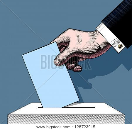 Hand putting voting paper in the ballot box. Vintage engraving stylized colored drawing. Vector illustration