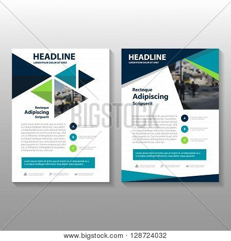Blue green triangle Vector annual report Leaflet Brochure Flyer template design, book cover layout design