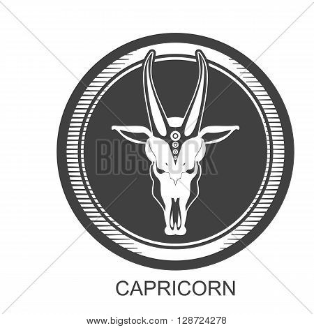 vector illustration zodiac sign of Capricorn in the round frame color dark gray asphalt