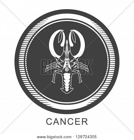 vector illustration of the sign of Cancer in the Zodiac round frame color dark gray asphalt