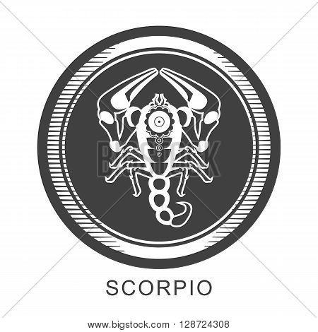 vector illustration zodiac sign of Scorpio in round frame color dark gray asphalt