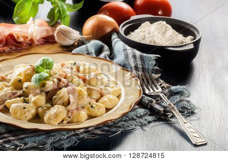 Potato Gnocchi, Italian Potato Dumplings With Cheese Sauce, Ham