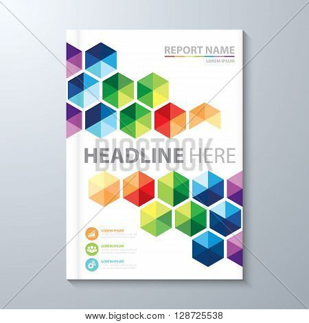Abstract colorful hexagon background. Cover design template layout in A4 size for annual report brochure flyer vector illustration