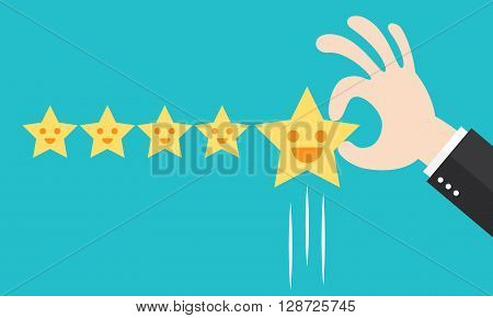 Customer review give a five star. Positive feedback concept. Vector illustration. Minimal and flat design