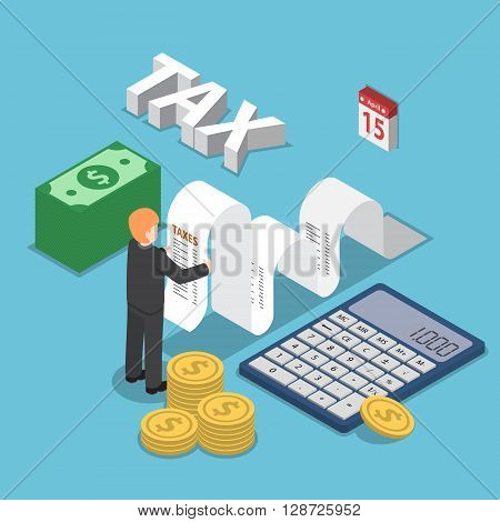 Isometric Businessman Calculate Document For Taxes With Calculator