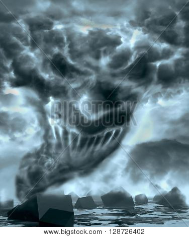 Demonic ugly face looking at you from tornado vortex. 3D rendering