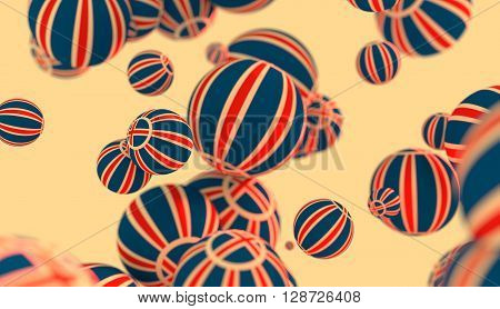 Large group of orbs or spheres levitation in empty space. 3D rendering. Iceland flag