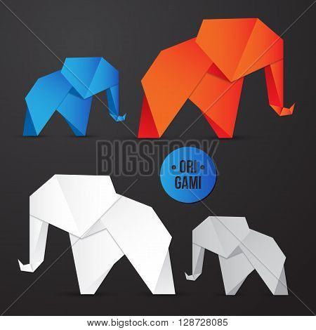 Vector paper origami elephant icon. Colorful origamy set. Paper design for your identity. Origamy logo modern style