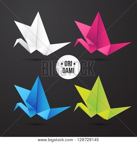 Vector paper origami crane bird icon. Colorful origamy set. Paper design for your corporate identity. Modern style