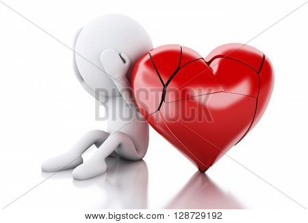 3d renderer image. White people with heart broken. Love concept. Isolated white background.
