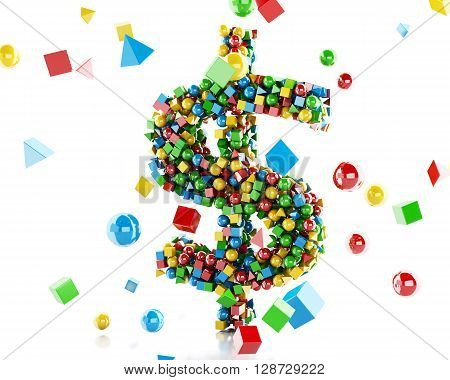3d renderer image. Dollar sign with geometric and colorfull shapes. Isolated white background.
